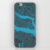 new york map iPhone & iPod Skins featuring new york map by Map Map Maps
