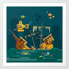 Looking for underwater treasure Art Print