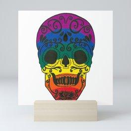 rainbow skull Mini Art Print