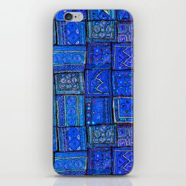 V2 Calm Blue Traditional Moroccan Cloth Texture. iPhone Skin