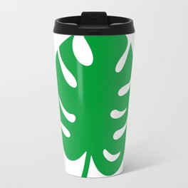 Philodendrons Pattern - Green on White Travel Mug