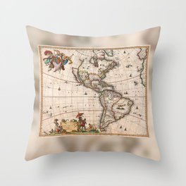 1658 Map of North America and South America with 2015 enhancements Throw Pillow