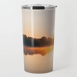 Dawn Mist Over Long Run Lake Travel Mug