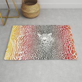 Color pattern background with zebra, leopard and giraffe Rug