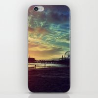 santa monica iPhone & iPod Skins featuring Santa Monica Sunset by Michali's Studio