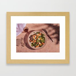 Mediterranean egg salad with glass and fork and tree shadow Framed Art Print