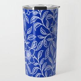 Vintage Lace Floral Sapphire Blue Travel Mug