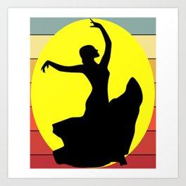 Flamenco Dancer Retro Art Print
