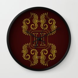monogram H seahorse Wall Clock