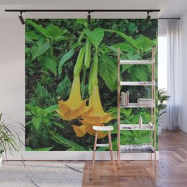 TROPICAL GOLDEN ANGEL TRUMPET FLOWERS Wall Mural