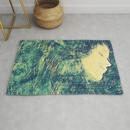 Vintage Bright Blue Ocean Wave Surfer Girl Fine Art Rug