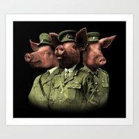 pigs Art Prints featuring War Pigs by Josh Billings