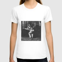 Naked woman bound with old iron shackles T-shirt