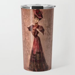 Woman in red Edwardian Era in Fashion Travel Mug