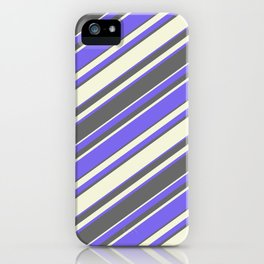 Medium Slate Blue, Dim Gray, and Beige Colored Stripes Pattern iPhone Case