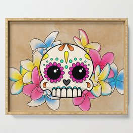 Calavera con Flores - Sugar Skull with Frangipani Flowers Serving Tray