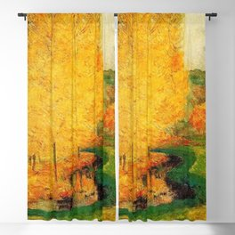 Classical Masterpiece 'By the Stream - Autumn' by Paul Gauguin Blackout Curtain