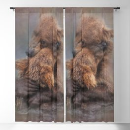 Vintage Painting Of A Big Bear Hug In The River Bears Living In The Wild Blackout Curtain