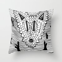 coyote Throw Pillows featuring Coyote by Catolyn