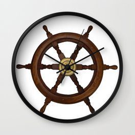 old oak steering wheel for ship or boat Wall Clock