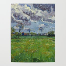 Meadow With Flowers Under a Stormy Sky Poster