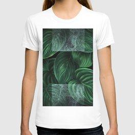 tropical green pattern on black T-shirt