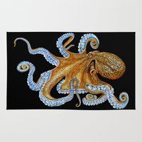 octopus Area & Throw Rugs featuring Octopus by Tim Jeffs Art