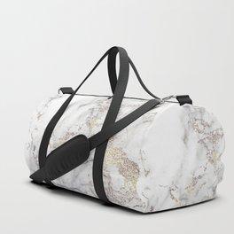 Champagne Rose Gold Blush Metallic Glitter Foil On Gray Marble Duffle Bag