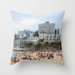 Busy Beach Day at Bondi Throw Pillow
