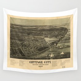Aerial View of Cottage City (Oak Bluffs), Massachusetts (1890) Wall Tapestry