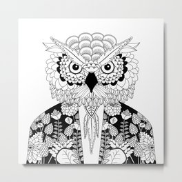 Portrait of a middle age owl wearing a vintage jacket Metal Print