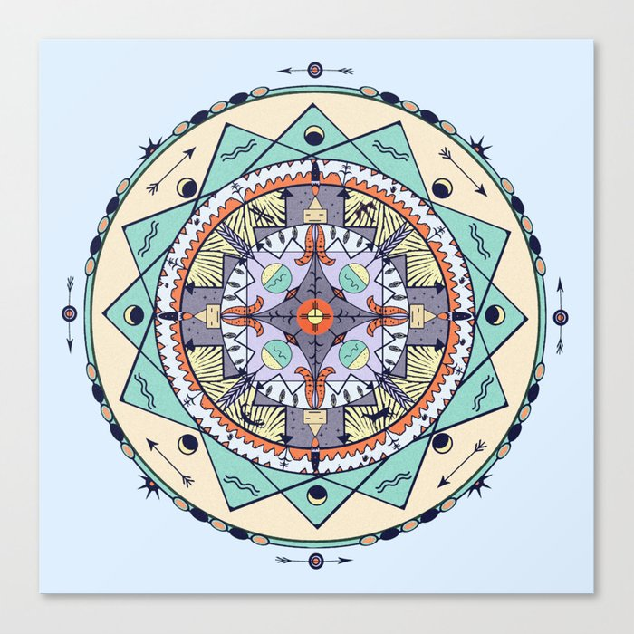 Time and Light Native Shapes Mandala Canvas Print