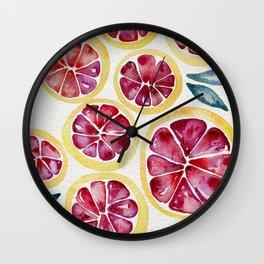 Sliced Grapefruits Watercolor Wall Clock