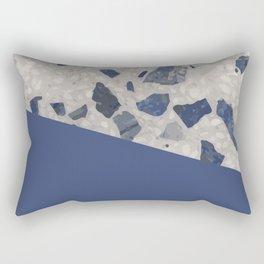 Terrazzo Texture Dark Blue #2 Rectangular Pillow