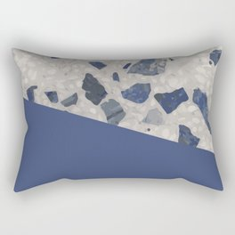 Terrazzo Texture Dark Blue #2 Rectangular Pillow