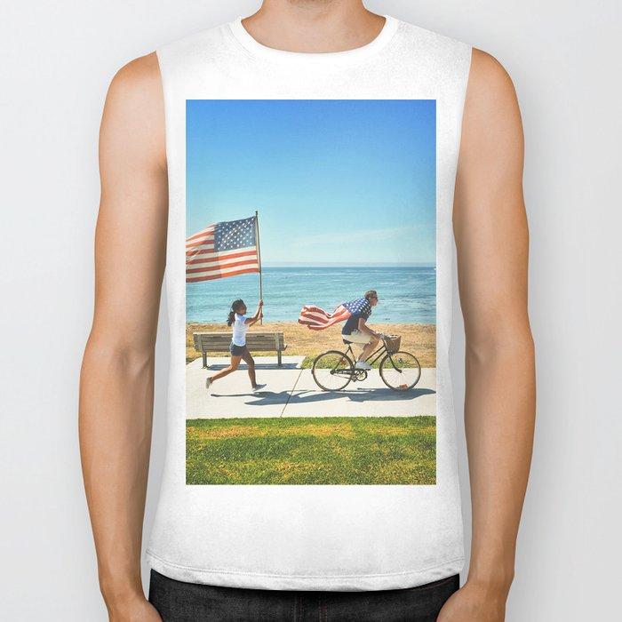 America flag bicycle Biker Tank