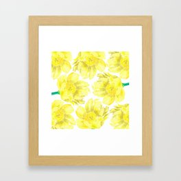 Yellow Peony Flower Pattern Framed Art Print
