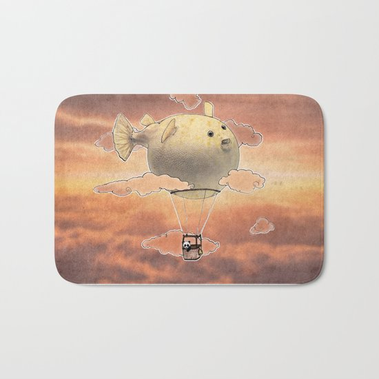 Panda fliying in a Blow fish 2 Bath Mat