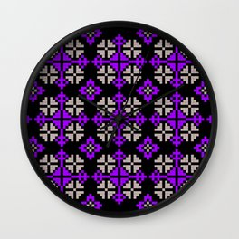 Traditional Romanian folk art knitted embroidery pattern Wall Clock