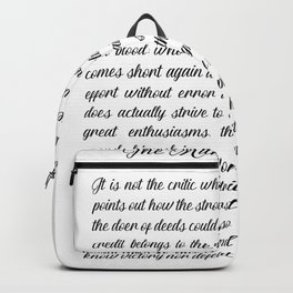 The Man In The Arena by Theodore Roosevelt Backpack