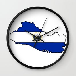 El Salvador Map with Salvadoran Flag Wall Clock