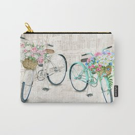 Vintage Bicycles With a City Background Carry-All Pouch