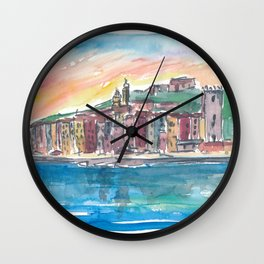Porto Venere Mediterranean Sunset In Italy Wall Clock