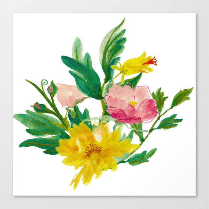 Watercolor Bouquet of Yellow and Purple Peonies Canvas Print