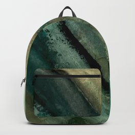 Green Thumb - an abstract mixed media piece in greens and blues Backpack