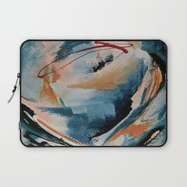 Drift 6: a bold mixed media piece in blues, brown, pink and red Laptop Sleeve