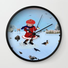 Little girl with friends Wall Clock