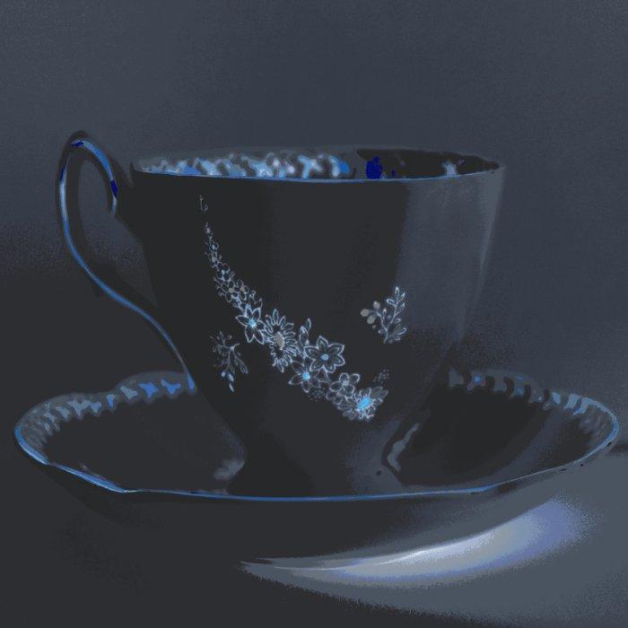 The Black Teacup | Still Life | Kitchen Art | Tea Duvet Cover
