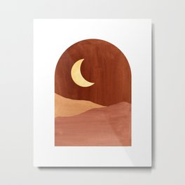Terracotta night, abstract landscape, moon and desert Metal Print