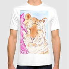 Tiger #1 White MEDIUM Mens Fitted Tee